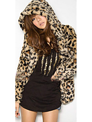 Women's Casual/Daily Street chic Fur Coat,Leopard Hooded Long Sleeve Winter Brown Faux Fur Medium