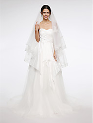 Wedding Veil Two-tier Fingertip Veils Lace Applique Edge Net