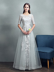 Formal Evening Dress - Elegant A-line Jewel Floor-length Lace / Tulle / Jersey with Lace