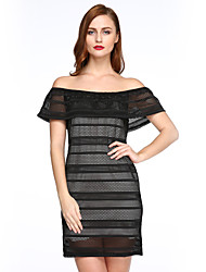 Women's Off The Shoulder|Lace Going out Street chic Lace Sexy Sheath Dress, Boat Neck Mini Short Sleeve Black
