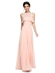Lanting Bride® Floor-length Chiffon Two Pieces / Wrap Included Bridesmaid Dress - A-line Strapless with Sash / Ribbon