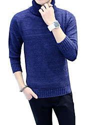 Men's Casual/Daily Work Plus Size Simple Cute Street chic Regular Pullover,Solid Blue Black Brown Turtleneck Long Sleeve CottonFall