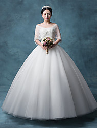 Princess Wedding Dress Floor-length Bateau Lace / Organza / Tulle / Sequined with Appliques / Crystal / Lace / Sequin