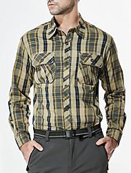 Men's Casual/Daily Simple Fall Shirt,Check Shirt Collar Long Sleeve Cotton Medium