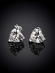 Women Fashion Zircon Silver Heart Contracted Euramerican Style Earrings for Wedding Party Daily Halloween