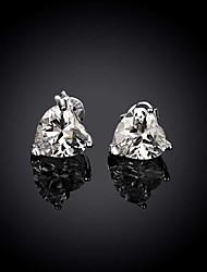 Boucles d'oreille goujon Zircon Cuivre Plaqué argent Imitation de diamant Simple Style Argent BijouxMariage Soirée Halloween Quotidien