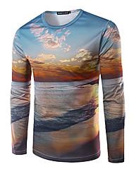 Herren Druck Einfach Ausgehen T-shirt,Rundhalsausschnitt Herbst Langarm Blau Modal Mittel