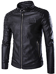 Men's Korean Slim Stand Collar Motorcycle Leather Jackets Solid Stand Long Sleeve Fall Winter Black PU Polyester Medium