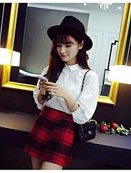 Damen Röcke,A-Linie HahnentrittmusterAusgehen Lässig/Alltäglich Sexy Vintage Hohe Hüfthöhe Mini Reisverschluss Baumwolle Nylon