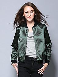 Women's Holiday Street chic Jackets,Solid Peter Pan Collar Long Sleeve Spring / Fall Green Nylon Medium