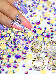 500pcs Gold Flat Back AB Rhinestones Crystal 3D Nail Crystal DIY Shiny Diamond Sequin Nail Sparkly Tool
