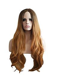 ежедневно носить естественная волна моды коричневый парик для женщин термостойкими