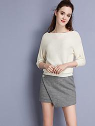 Damen Röcke,A-Linie einfarbigLässig/Alltäglich Einfach Mittlere Hüfthöhe Asymmetrisch Elastizität Polyester Wolle Unelastisch Herbst