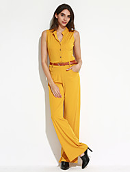 Women's Solid / Polka Dot / Striped White / Black / Yellow Jumpsuits,Simple Turtleneck Sleeveless