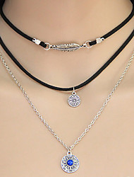 Women's Pendant Necklaces Collar Necklace Layered Necklaces Alloy Circle Leaf Euramerican Silver Jewelry Party Daily 1pc