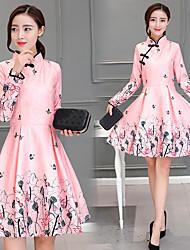 fêmea 2016 primavera nova coreano mulheres retro arte estilo chinês cheongsam saia cintura melhorou a impressão