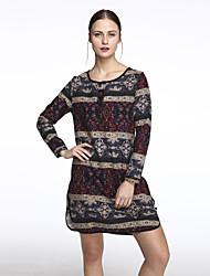 Women's Round Neck Button/Flower/Split Vintage Casual Dress , Cotton/Linen Knee-length Long Sleeve