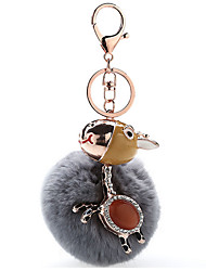 Key Chain Sphere Horse Gray Metal Plush