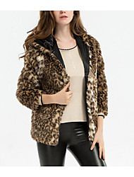 Women's Going out / Casual/Daily Simple Fur Coat,Leopard Hooded ¾ Sleeve Fall / Winter Brown Faux Fur Thick
