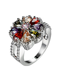 Fashion Design Colorful zircon Flower shape Jewelry Rings Female Romantic gift Engagement Wedding Rings