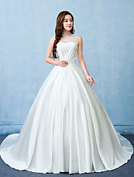 Ball Gown Wedding Dress Court Train High Neck Satin Tulle with Lace Pearl
