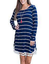 Women's Casual/Daily Street chic Sheath Dress,Solid U Neck Midi Long Sleeve Black Polyester Fall / Winter High Rise Stretchy Medium