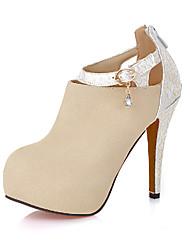 Feminino-Saltos-Sapatos com Bolsa Combinando-Salto Agulha-Preto Vermelho Bege Amêndoa-Courino-Escritório & Trabalho Social Casual
