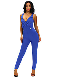 Women's Sexy Sleeveless Button Sides Bodycon Jumpsuit