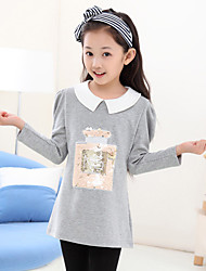 Girl's Cotton Fashion Solid Color Spring/Fall Going out/Casual/Daily Bubble Long Sleeve Lapel Shirt Kid Undershirt Sequin Blouse