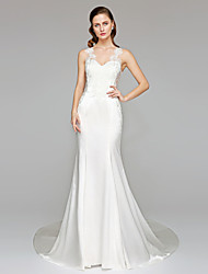 Mermaid / Trumpet Straps Chapel Train Stretch Satin Wedding Dress with Appliques by LAN TING BRIDE®