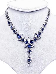 Feminino Colares com Pendentes Colarinho Cristal Gema Formato de Flor Gema Original Floral Azul Real Jóias Para Casamento Festa Diário