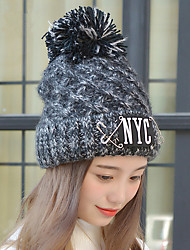 Fashion New Winter Pin NYC Letters Plus Wool Line Hat Ms. Warm Single Hat Knit Hat