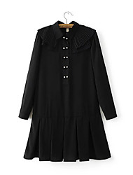 Women's Going out Casual/Daily Simple Sophisticated A Line Skater Dress,Solid Patchwork Beaded Ruffle Ruched Round Neck Above KneeLong