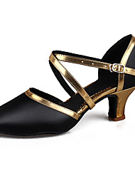 Zapatos de baile(Negro / Plata Oro negro) -Latino Salsa-Personalizables-Tacón Cubano