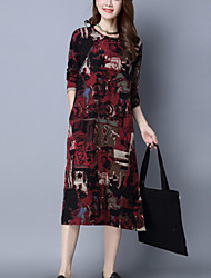 Women's Casual/Daily Street chic Ethnic Print Loose Thin Dress Print Knee-length Long Sleeve Red Cotton /Linen Spring /Fall