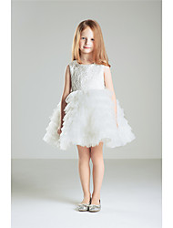 Princess Knee-length Flower Girl Dress - Cotton Lace Sleeveless Jewel with Bow(s) Flower(s)