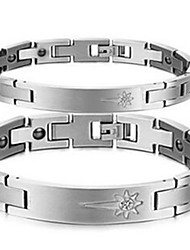 Bracelet Chain Bracelet Stainless Steel Rhinestone Flower Magnetic Therapy Casual Jewelry Gift Silver,1pc