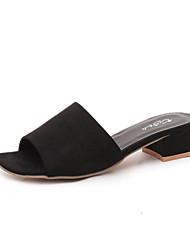 Damen-Sandalen-Lässig-PU-Niedriger Absatz-Komfort-Schwarz Grau Khaki
