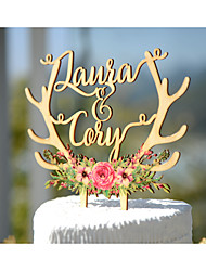 Wedding Cake Topper Printed with Floral Wreath and Personalized with Bride and Groom first Names