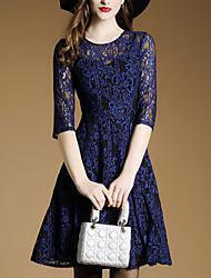 Feminino Rendas Vestido, Formal Trabalho Sofisticado Sólido Decote Redondo Acima do Joelho Manga ¾ Azul Poliéster Primavera Cintura Média