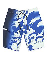 Men's Fashion Quick-Drying Breathable Beach Swim Shorts Print Polyester Gray / Blue