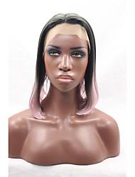 na altura dos ombros bob penteado raízes negras ombre perucas vermelhas para mulheres resistentes reta glueless rendas frente peruca