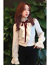 Feminino Camisa Social Casual Fofo Primavera,Sólido Bege Algodão Colarinho Chinês Manga Longa Média