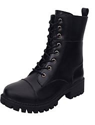 Women's Boots Fall Winter Other PU Office & Career Casual Low Heel Others Lace-up Black