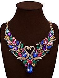 Women's Statement Necklaces Bib necklaces Animal Shape Swan Gemstone Rhinestone Bohemian Luxury Fashion Vintage Wedding Party Birthday Valentine
