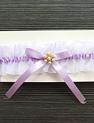Garter Stretch Satin Rhinestone Purple