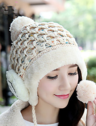 Winter New Smile Ear Protection Huarong Velvet Single Cap Sets Of Hats Ms. Outdoor Knit Hat Wool Hat