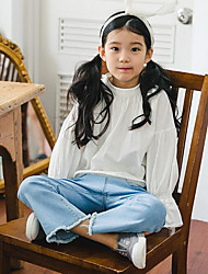 Girl Casual/Daily Solid Blouse,Cotton Spring Fall Long Sleeve Long