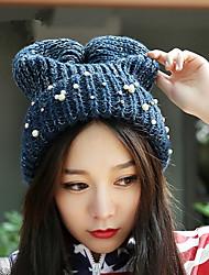 Fashion Pearl Anti - Along The Knitting Cap Winter Women 'S Wool Caps Head Caps