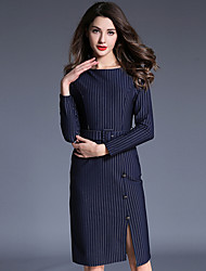 Women's Going out Casual/Daily Holiday Sexy Simple Sheath Dress,Striped Split Round Neck Knee-length Long Sleeve Cotton Blue Red Winter